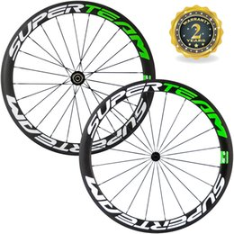 Wholesale Green Clincher - Superteam 50mm Full Carbon Wheelset Clincher Tubular Green Color Wheel 700C Road Bicycle wheel Road Bikes Free Shipping