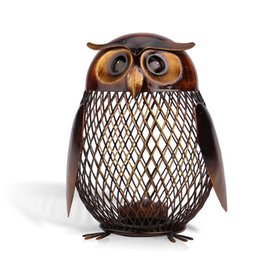 Wholesale Handcrafts Art - Owl Shaped Metal Coin Box Animal Ornament Iron Art Handcrafts Home Furnishing Articles Crafting Art Home Decoration Accessories