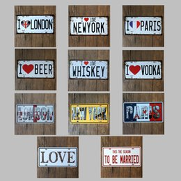 Wholesale Statues Angels Wholesale - I Love London 30X15 CM Metal Tin Sign ET 1889 Car License Plates Tin Poster Statue Of Liberty Iron Painting Antique 5 99rjb