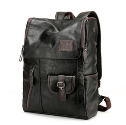 Wholesale Laptop Rhinestones - Vintage Genuine Leather Backpack for Men as Laptop School College Bookback for Travelling Camping Holds Notebook Computer up to 15.6 Inches