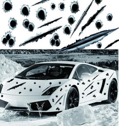 Wholesale car bullet holes - Car Stickers bullet shot hole Decal cover anti scratch for car body Light brow front back door bumper window rearview mirror