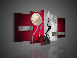 Wholesale Floral Picture Frames - Free Shipping ,Lots Wholesale ,w008#,Handicrafts Modern Abstract 5 Panel Combination Huge Wall Decor Art Oil Painting On Canvas