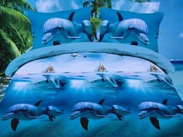Wholesale Dolphin Sheets Queen - 3D Dolphin duvet set Bedding sets Blue Sea quilt covers bed in a bag sheets linen bedspread doona Queen size Full double 4PCS