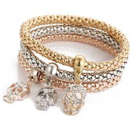 2019 roségold schädel armband Mode Mais Armband Set Schädel Drei In Einem Gold / Silber / Rose Gold Überzogene Mais Kette Armband Sets