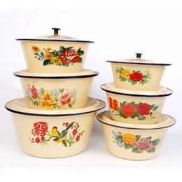 Wholesale Cookware Pots - Enamel Pan Enamelware Soup Sauce Pot With Lid Handles Flower pattern prints Diameter 16-30cm Soup enamel Kitchen Housewares Cookware