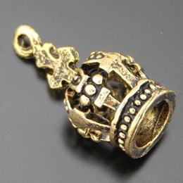 Wholesale 3d Crown Pendant Wholesale - Wholesale- 15pcs pack Antique Gold Tone Alloy 3D Crown Charms Necklace Pendant Jewelry Making 17*8*8mm Handmade Crafts Bracelet Dec 50583