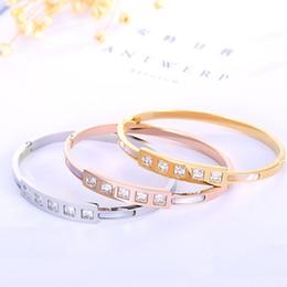 Wholesale Titanium Single Bracelet - hot sale 2017 new Titanium steel bracelet single-row square bangle Rose Gold fashion Bracelets for women