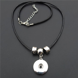 Wholesale metal slide tin - Simple Black Rope Chain 18mm Snap Buttons Necklace Noosa Chunks Metal Ginger Charms Necklace Jewelry Wholesale