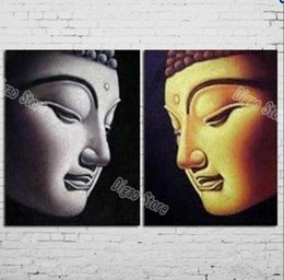 Wholesale Hand Painted Buddha - 2 Pieces hand painted buddha figures oil painting on canvas modern home decoration