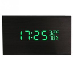 Wholesale Led Display Show - Vintage Led Wood Alarm Clock Dual Led Display Bamboo Wooden Clock Show Temp Time Control Watch