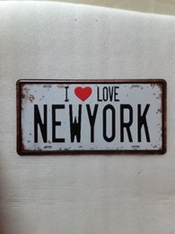 Wholesale Wall Poster New York - I LOVE NEW YORK Vintage Metal Plaque Car Number Retro Licence Plate Tin Sign Bar Pub Home Cafe Wall Decor Retro Metal Art Poster