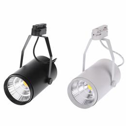 Wholesale Led Spot Track Lighting - High Quality 30W LED Track Light Bridgelux COB LED Spot Light 30W Driver AC85-265V Black Or White Shell Optional Free Shipping