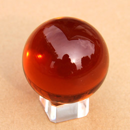 Wholesale Artificial Crystals For Decoration - Wholesale- Fashion 40 50 60 70 80mm Amber Crystal Ball Round Glass Artificial Crystal Healing Sphere With Remove Stand For Home Decoration
