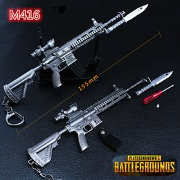 model metal toys cars prices - PLAYERUNKNOWNS BATTLEGROUNDS Keychain PUBG Key Ring Pot Metal Fashion Car Weapon model ornaments Toy ornaments M416