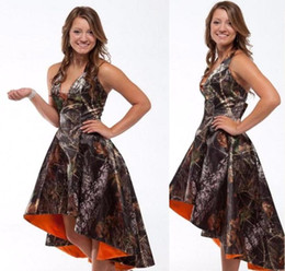 Wholesale Realtree Wedding - Custom Made High Low Realtree Camo Bridesmaid Dresses 2017 Hot Sale Bride Maid of Honor Dress Wedding Party Gowns BA2441