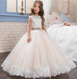 Wholesale Kids Pageant Dresses Size 12 - Lace Long Kids Puffy Prom Pageant Dresses For Girls Glitz Size 8 12 Champagne Ball Gown Children Graduation Dresses 2017 Cheap