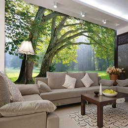 fondo de pantalla 3d naturaleza Rebajas Al por mayor-papel tapiz fotográfico en 3D Parque natural murales del árbol sala de estar sofá TV fondo pared mural papel pared