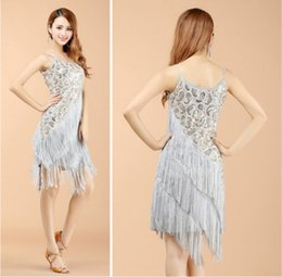 Wholesale Latin Dresses Woman Dance - Wholesale clothing Stage Clothing Latin Dance Dresses Full Sequined Tassels Dresses Sexy Party Dress