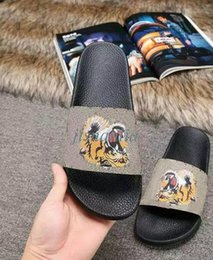 Wholesale Mens Animal Slippers - 2017 new arrival mens and womens fashion tiger printing leather slide sandals boys & girls causal beach slippers