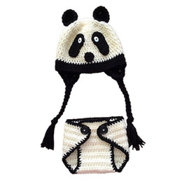Wholesale Newborn Panda Bears - Novelty Newborn Panda Bear Outfit,Handmade Knit Crochet Baby Boy Girl Animal Panda Earflap Hat Diaper Cover Set,Infant Toddler Photo Prop