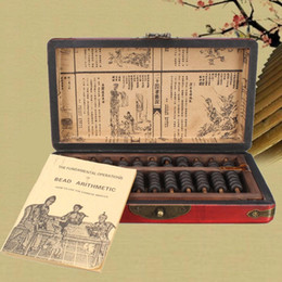 Wholesale Vintage Chinese Box - Wholesale- Vintage Chinese Wooden Bead Arithmetic Abacus With Box Classic Ancient Calculator Counting Collection Gift For Children Adult