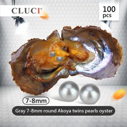 Wholesale Holiday Party Pack - Twins Gray Individual Packed 7-8mm Round Akoya Pearl Oyster Saltwater for Party, 100pcs Grade AAA