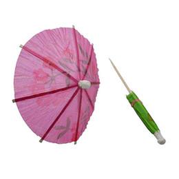 Wholesale Wholesale Paper Umbrella Parasol - Wholesale- 50x lot Wedding Cocktail Drinks Party Sticks Paper Parasol Umbrella