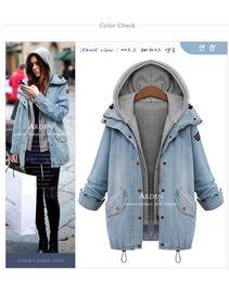 Wholesale Drawstring Denim Jacket - Spring Autumn Women Jacket Fashion Female Clothing Brand Blue Hooded Long Sleeve Drawstring Denim Coat FREE SHIPPING