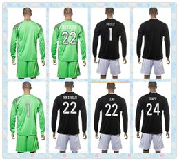 Wholesale Germany Army - Fast 2016 2017 2018 Soccer Jersey Uniforms Kit Germany #22 TER STEGEN #22 LENO #1 NEUER #24 TRAPP Green Goalkeeper Black Long Sleeve Jerseys