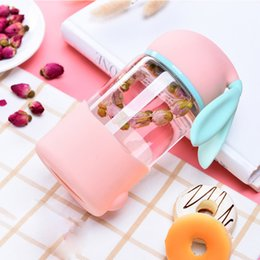 Wholesale Tea Cup Portable - The New Creative Cartoon Rabbit Glass Cup Tea Cup Glass Cup, Transparent and Heat Resistant Portable Water Bottle, Creative Filter Cup