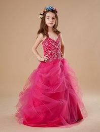 Wholesale Dres Beads Sequins - Christmas Free shipping Fashion A Line Halter Sweep Sequins Beaded tulle Bubble Pageant Dresses Cute Baby Girls dress Host dress Party Dres