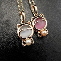 Wholesale Kitty Link - 2015 New !!! Fashion Fine Jewelry Gold plated Beads Opal Smile Lucky Kitty Cat Clavicle Chain Necklaces & Pendants For Women N-3