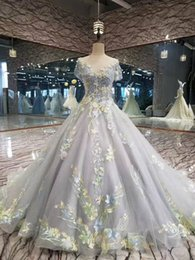 Wholesale Gray Bamboo Flooring - New Evening Dress 3D Flowers Champange Elegant Gray Lace Flower Boat Neck Floor-length Party Ball Gown Custom Real Photos Prom Dresses