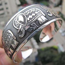 Wholesale Tibetan Color Bracelet - Bohemen Elephant bracelet Tibetan Tibet Silver Totem Bangle Cuff Bracelet Gift Elefante Carved Pulseira armband (Color: Silver)