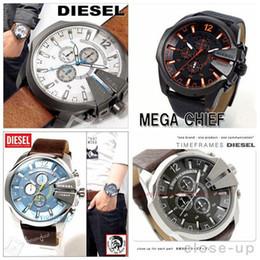 Wholesale Dz Watches - 2017 Fashion Quartz Watch DZ men Top Brand Luxury 50mm stainless steel dial leather strap calendar Hodinky Relogio Masculino dz4283 dz7192