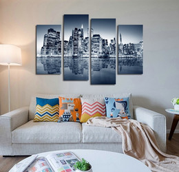 Wholesale Rivers Life - 4pcs set Unframed New York East River Night View Oil Painting On Canvas Giclee Wall Art Painting Art Picture For Home Decor