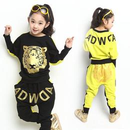 Wholesale Hip Hop Suits Girls - Wholesale- Tiger Printed Boys Girls Clothing Set 2017 New Fashion Brand Sport Suit Sweatshirts & Harem Pants Kids Hip Hop Clothing 3 Colors