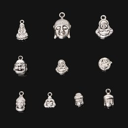 Wholesale Metal Buddha Charms - Wholesale-New Arrivals 75pcs Mixed Antique Silver Plated Charms Pendant Zinc Alloy Buddha Charms Metal Jewelry Findings for DIY Making