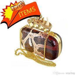Wholesale Skull Knuckle Clutches - Hot Sale - SKULL BAG Free shipping ivory snake grain Punk sull Knuckle shoulder clutch purse handbag women's bag 2 colour