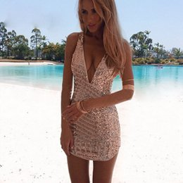 Wholesale Custom Designers For Prom Dresses - Designer Deep V-neck Backless Homecoming Dresses 2017 Shining Sequined Short Mini Arabic Prom Party Gowns For Teens Custom Made Cheap Sale