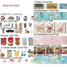 Wholesale Retro Paper Drinking - Wholesale- 2016 10m Washi Masking Tapes Retro Coffee Flower Drinks Cans Decorative Adhesive Scrapbooking DIY Paper Japanese Stickers