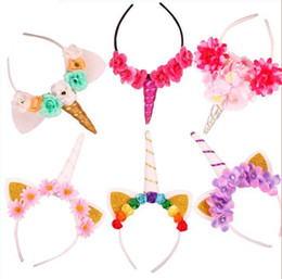Wholesale multi color cosplay wigs - unicorn horn headband with wig braids Party dressing up cosplay flower crystal hairbands Christmas hair sticks Birthday filler bag favors