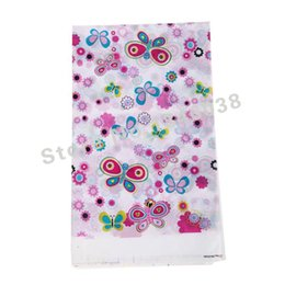 Wholesale Plastic Tablecover - Wholesale-1pcs 220*132cm disposable Birthday tablecloths Butterflies Fluttering kids happy birthday party plastic tablecover supplies
