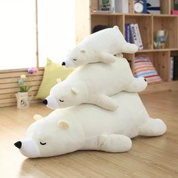 Wholesale Polar Pillow - Wholesale- Super cute soft cartoon plush white  brown sleeping polar bear toy doll pillow, creative birthday and education gift for child