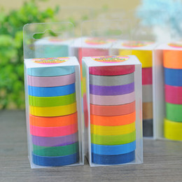 Wholesale Paper Washi Tapes - 2016 0.75cm DIY candy colour Roll Washi Sticky Paper Tape Masking Tape Self Adhesive Scrapbooking Decorative Tape gift