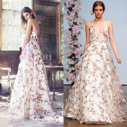 Wholesale Modern Flowers Design - New Design 3D Floral Prom Dresses Long Engagement Dress 2017 Open Back Evening Party Gowns Organza Sexy V-Neck Formal Dress Dubai Abiye