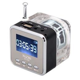 Radio digitali portatili online-NiZHi TT-028 MP3 Mini lettore musicale digitale portatile Micro SD USB FM Radio nel pacchetto al dettaglio DHL Freeshipping