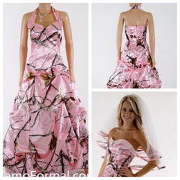 Wholesale Vintage Slim Line Wedding Dresses - Halter Pink Camo Wedding Dress Draped Formal Slim Camouflage Bridal Gowns Satin Long Country Garden Vestidos De Mariage