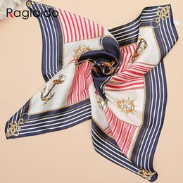 Wholesale Square Polyester Scarves - Wholesale-6colors 2016 Real Silk Scarf Women Printed Chains 60%Polyester Scarves Spring Summer Ladies Square Scarfs 60X60cm LQH083