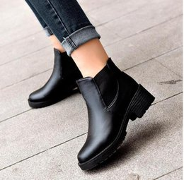 Wholesale Thick Girls Heels - Wholesale- T9060 Lady thick heel PU leather women shoes Ankle boots waterproof women girls Casual shoes mujer femininas botas Martin boots